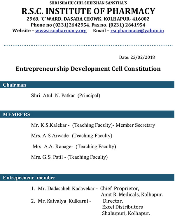 Entrepreneurship  Development  Cell.